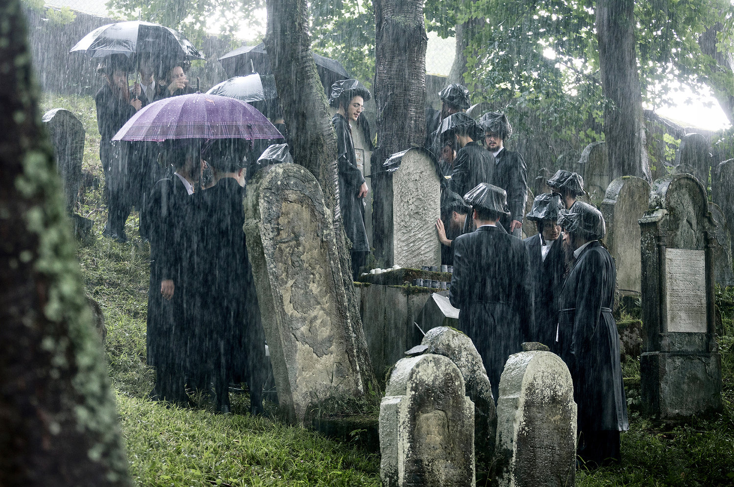 Hasidim withstand a downpour during a visit to a Jewish cemetery in the Polish town of Krynica Gorska.