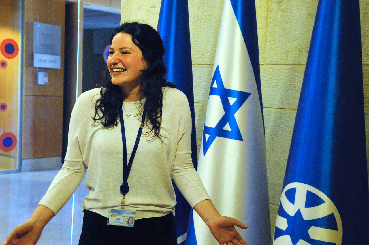 Jodi Fishbein, 19, works in the Director General's Office of Israel's Foreign Ministry.
