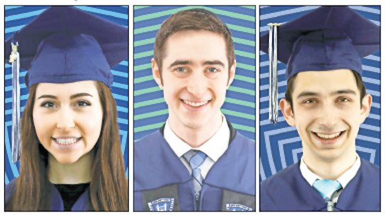 From left: Stern College for Woman Valedictorian Peri Zundell, of the Five Towns; Sy Syms School of Business Valedictorian Alexander Selesny, of West Hempstead; Yeshiva College Valedictorian Liam Eliach, of Woodmere.