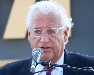 US Ambassador to Israel David Friedman speaks at a laying of a cornerstone ceremony for a new town named after US President Donald Trump, in Kela Alon in the northwestern Golan, on June 16.