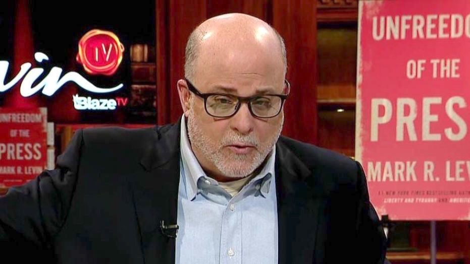 Conservative radio and TV personality Mark  Levin appearing on Fox News.