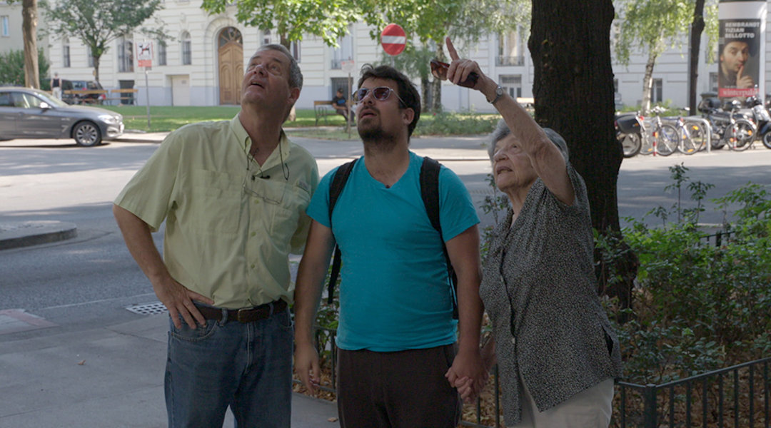 Dan Pelad, center, with his father, Gidi, and grandmother Lea. piled is a main subject of the Back to the Fatherland, a documentary on Israelis moving back to Germany and Austria