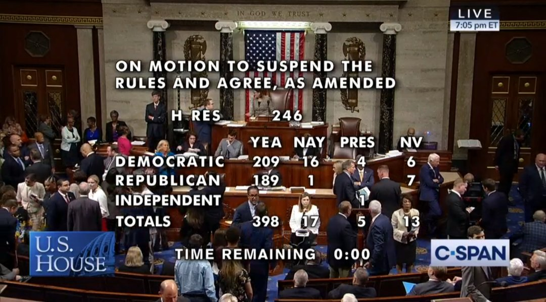 A screenshot of C-Span at the end of a tally of a House of Representatives vote to condemn the boycott Israel movement on July 23.