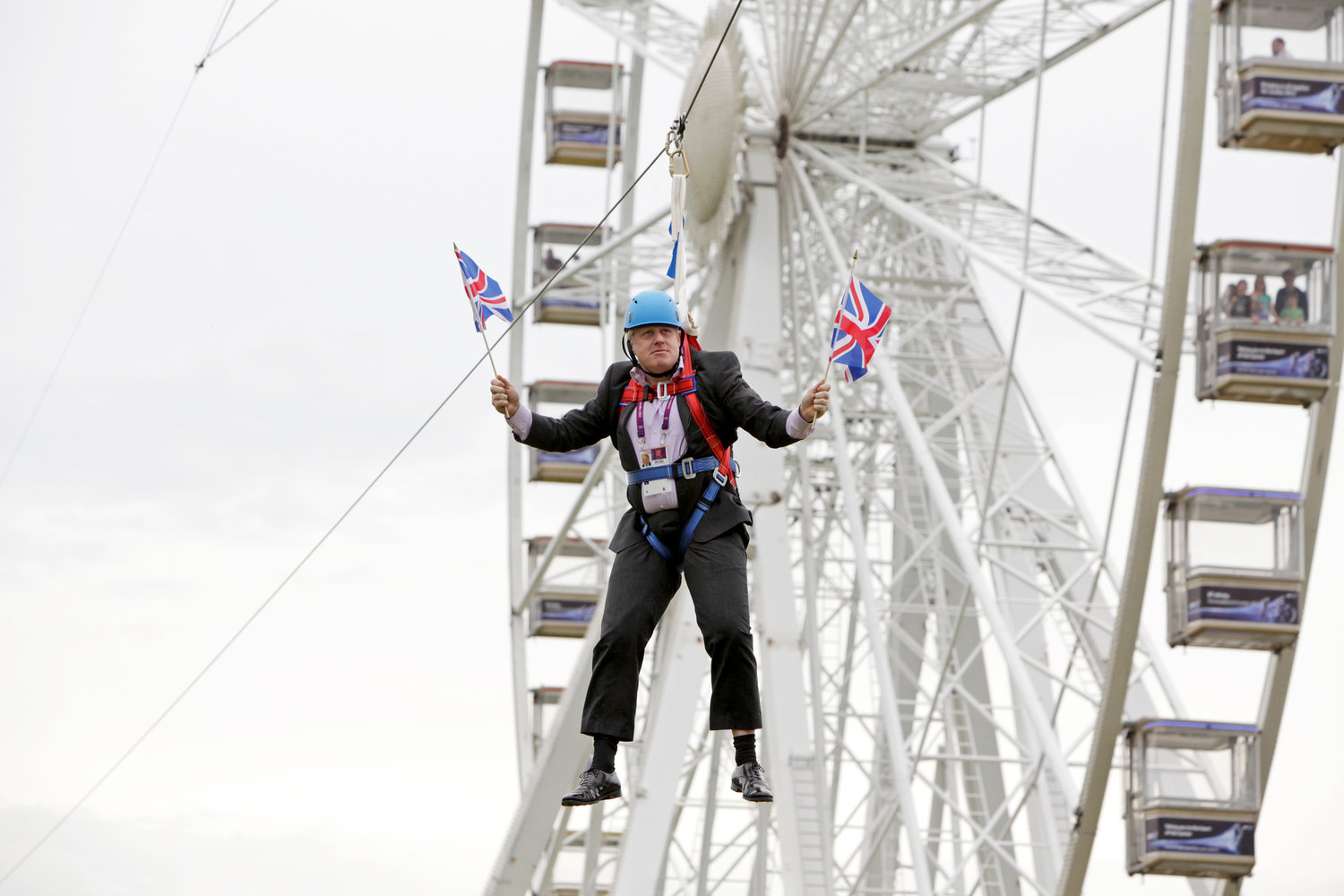 Mayor of London Boris Johnson got stuck on a zip-line during BT London Live in Victoria Park on Aug. 1, 2012.