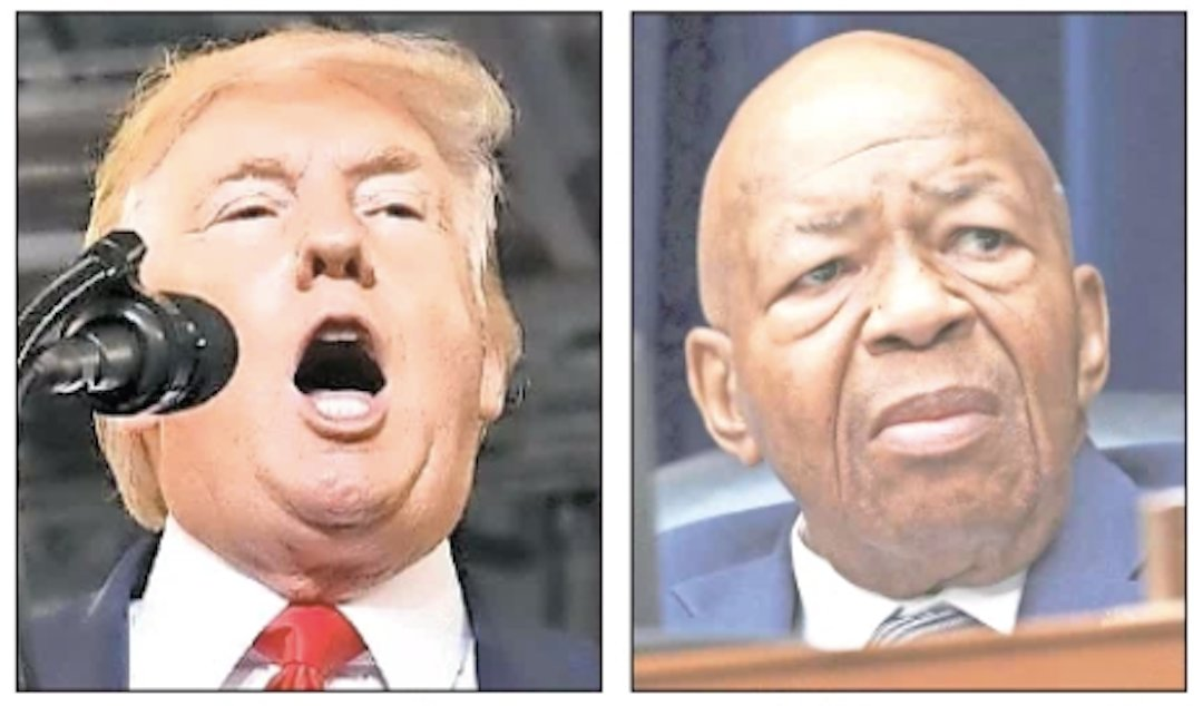 "President Donald Trump, at a ""Make America Great Again"" rally on July 17, and Baltimore Democratic Rep. Elijah Cummings."