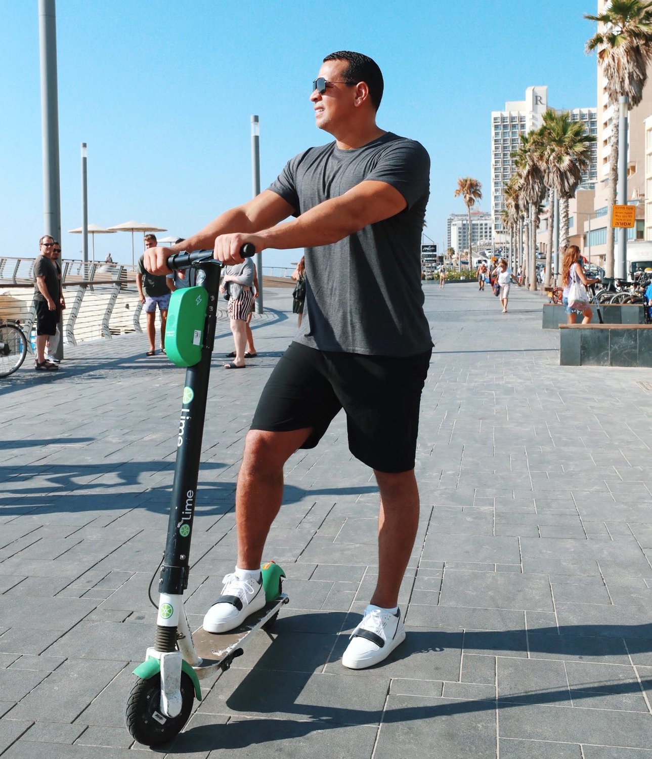 "Alex Rodriguez on a scooter in Tel Aviv: ""This beats NYC traffic any day, #israel"""