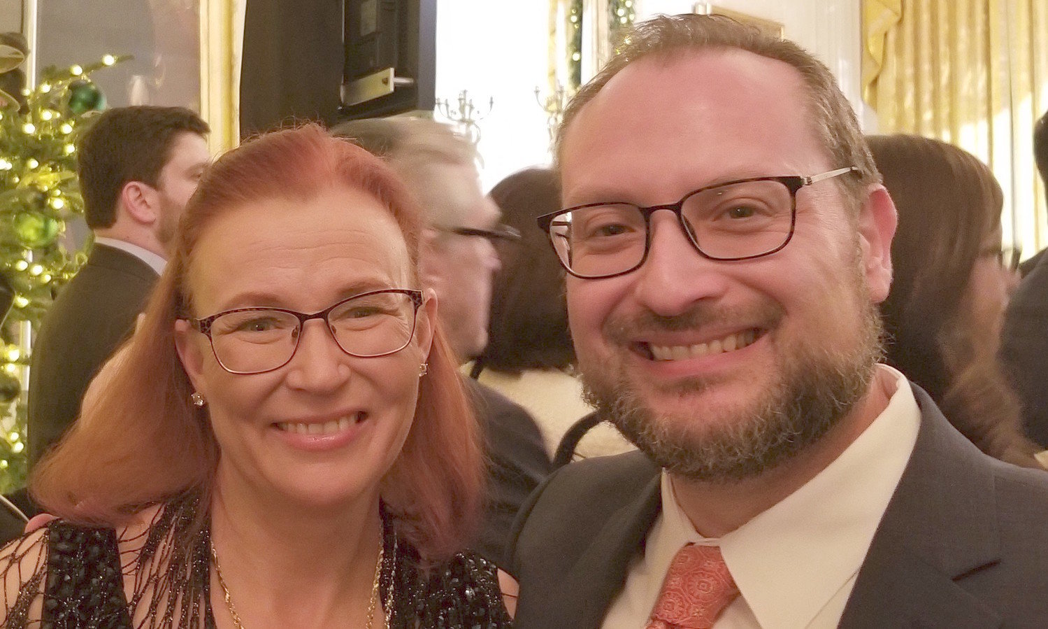 David Kaufman and his wife Julie, at the White House Chanukah Chanukah party in 2017. Kaufman leads Des Moines' largest synagogue, a Reform congregation.