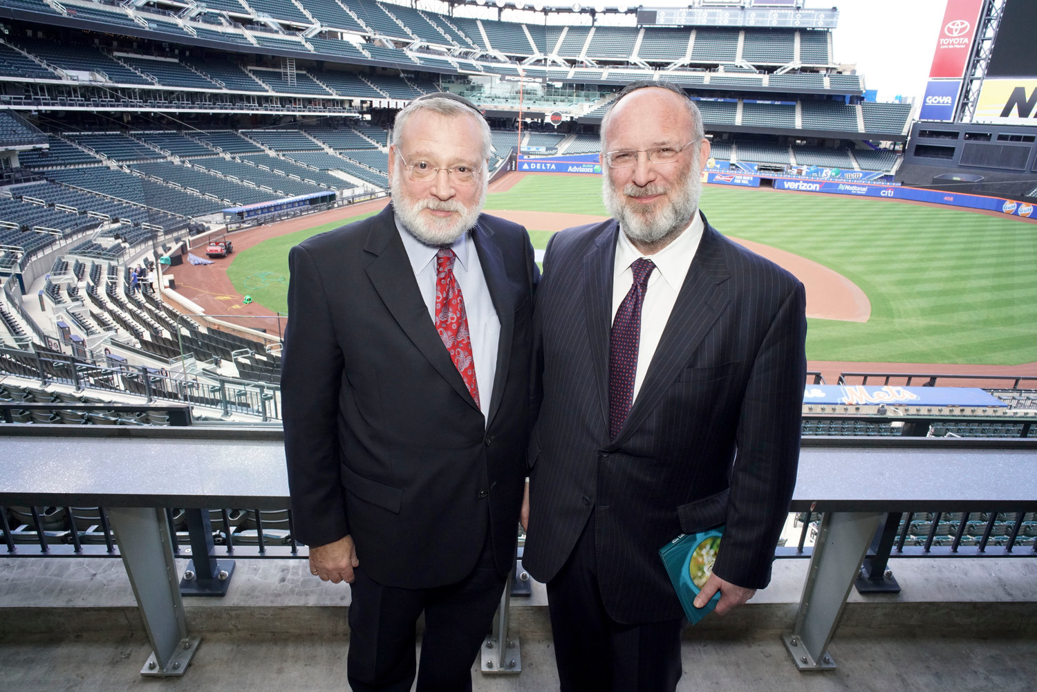 Orthodox Union Executive Vice President Allen Fagin of Woodmere (left) OU President Moishe Bane of Lawrence, at last year's Torah New York at Citi Field. This year's event is set for Sunday, Sept. 22.