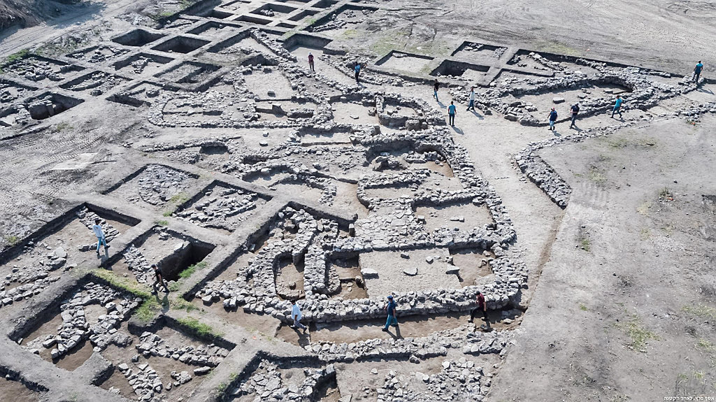 Remains of a 5,000-year-old city unearthed near Ein Iron in northern Israel.