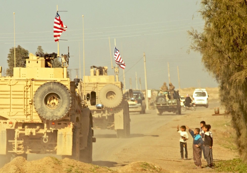 A convoy of U.S. soldiers in Syria in December 2018.