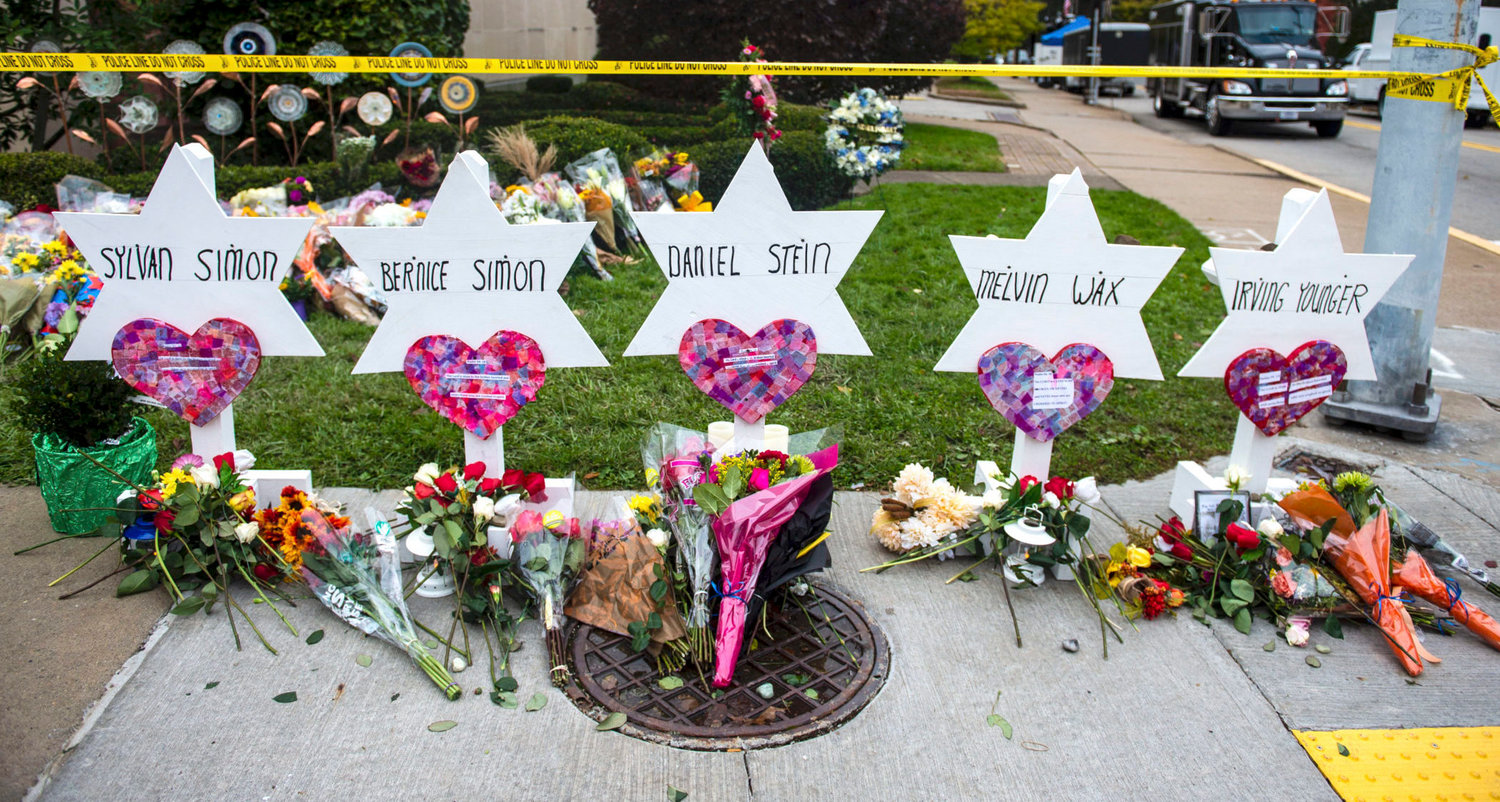 A memorial for victims of the attack on the Tree of Life synagogue in Pittsburgh, October 2018.