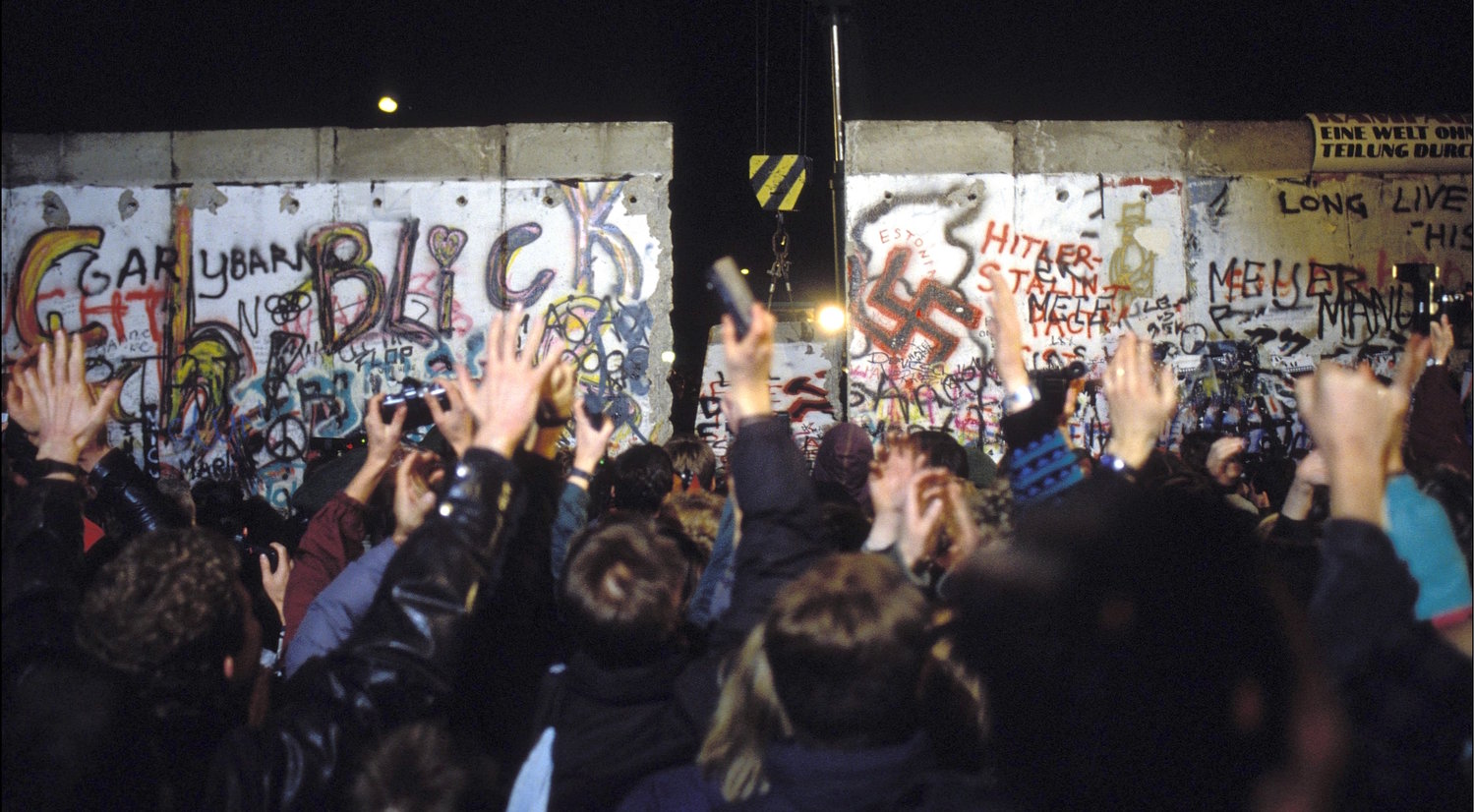 The Berlin Wall opening in November 1989.