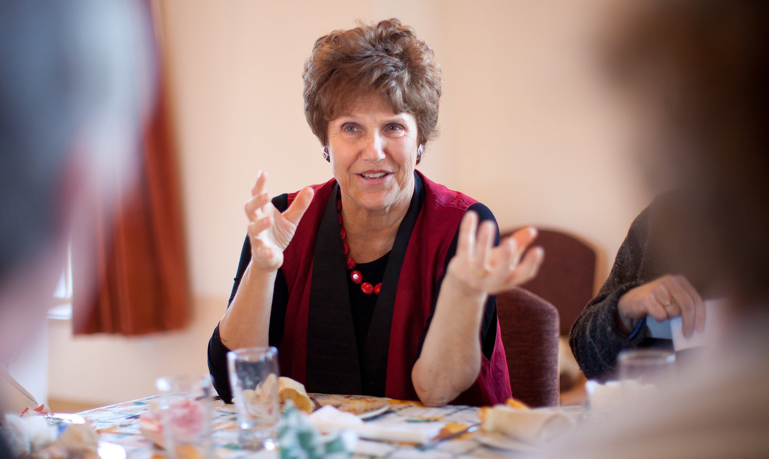 Renowned Jewish cookbook author Joan Nathan talks with students who took part in a cooking class at the National Yiddish Book Center in Amherst, MA in 2011.