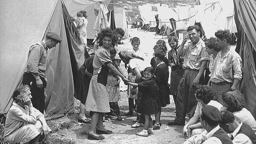 Jewish refugees at Ma'abarot transit camp in 1950.