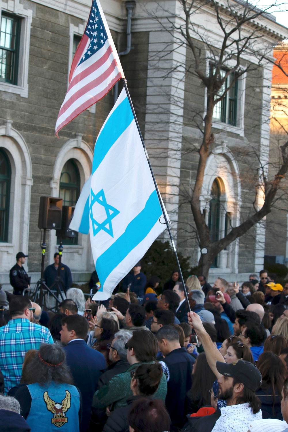 American and Israeli flags were held aloft at Sunday's rally outside the Theodore Roosevelt Executive and Legislative Building in Mineola.