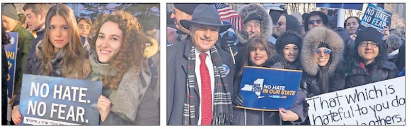 On the same day that New Yorkers rallied, Jerusalemites did the same — among them (at left) Dana Brody and Carolina Grimberg Golijov. Brody's parents — Dr. Paul and Drora Brody of Great Neck — are pictured next to Queens Assemblyman David Weprin at Foley Squre before marching over the Brooklyn Bridge to the No Hate No Fear rally in Brooklyn's Cadman Plaza Park.