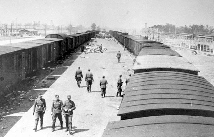 SS guards walk along the arrival ramp at Auschwitz-Birkenau in May 1944.