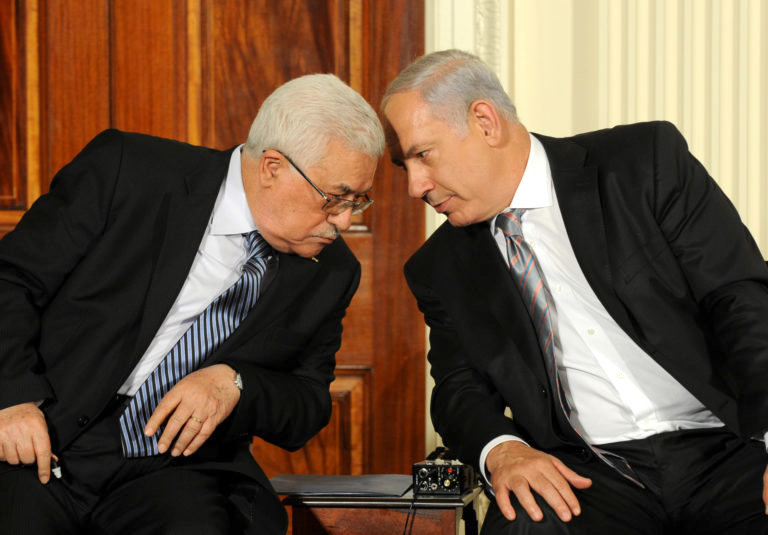 Israeli Prime Minister Benjamin Netanyahu and Palestinian President Mahmoud Abbas at the White House in 2010.