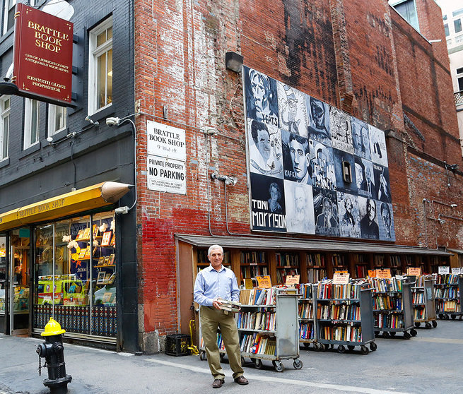 Ken Gloss outside his Brattle Book Shop, which is steps from Boston Common.