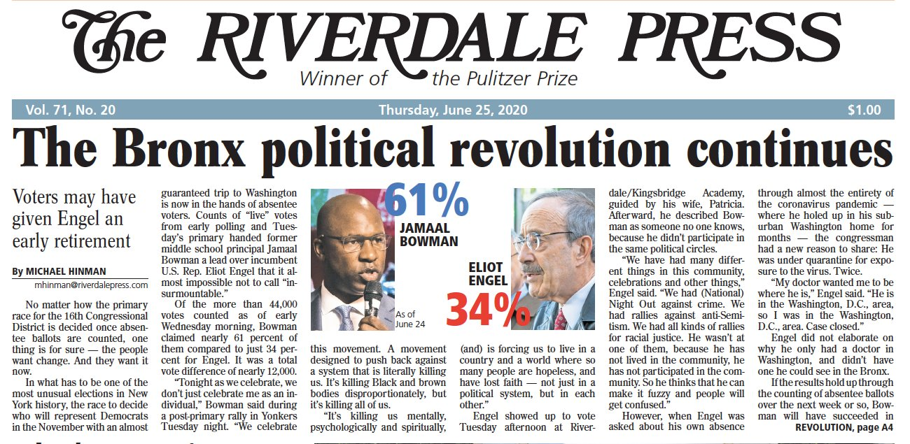The front page of Thursday's Riverdale Press led with a story on Rep. Eliot Engel's defeat.