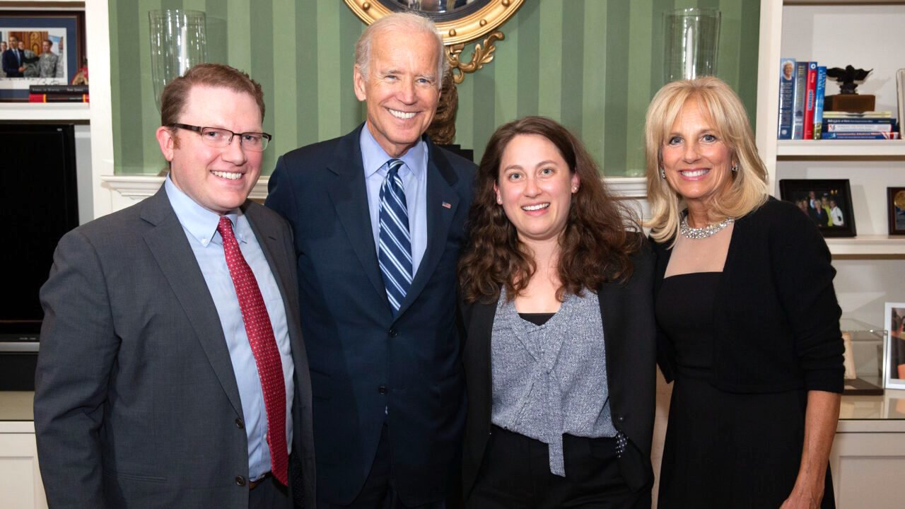 Vice President Joe Biden and Dr. Jill Biden take photos with guests during a Jewish Leaders reception at the Naval Observatory Residence in Washington on Sept. 9, 2015.