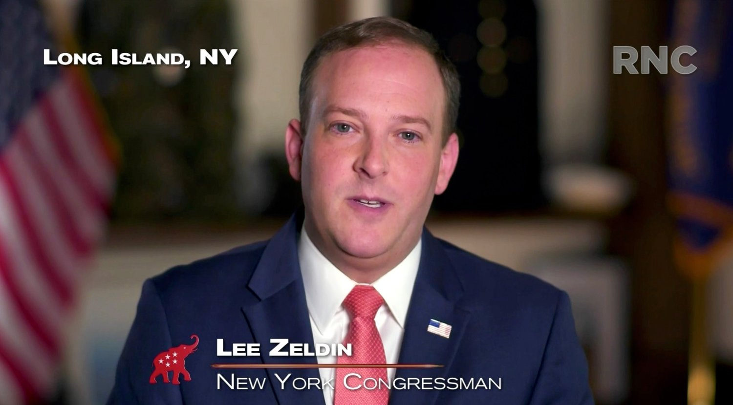 In this screenshot from the RNC's livestream of the 2020 Republican National Convention, Rep. Lee Zeldin of Long Island addresses the virtual convention on August 26.