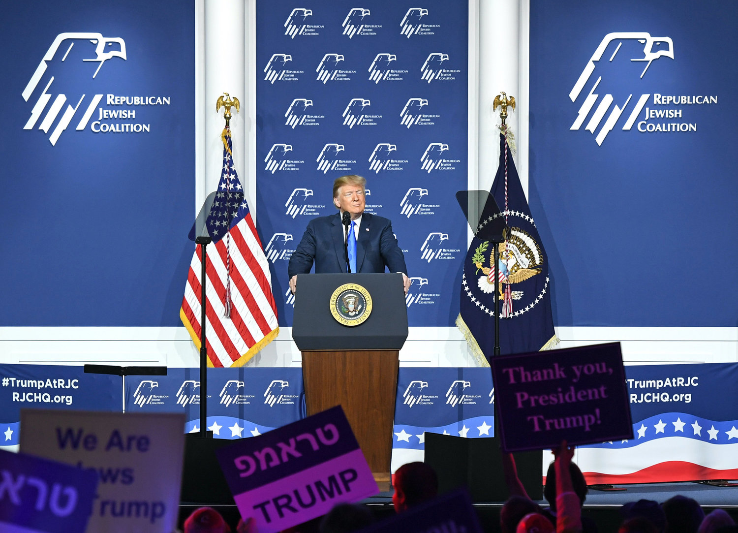 President Donald Trump speaks during the Republican Jewish Coalition's annual leadership meeting at The Venetian Las Vegas on April 6, 2019.