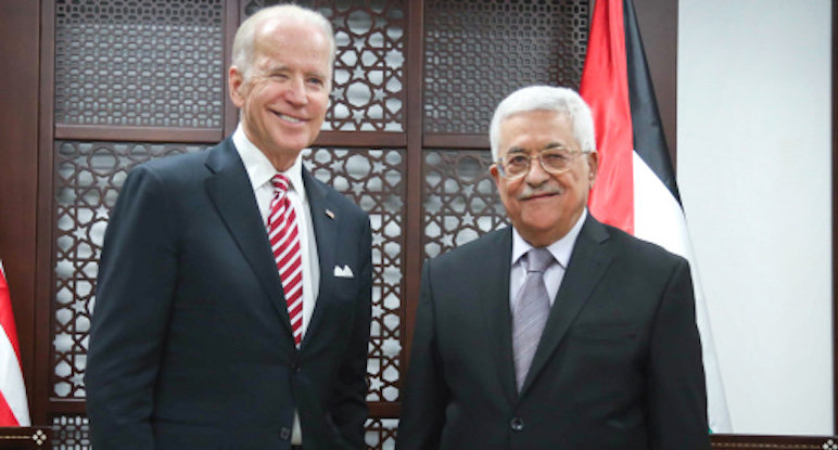Vice President Joe Biden meets with Palestinian president Mahmoud Abbas in Ramallah on March 9, 2016.