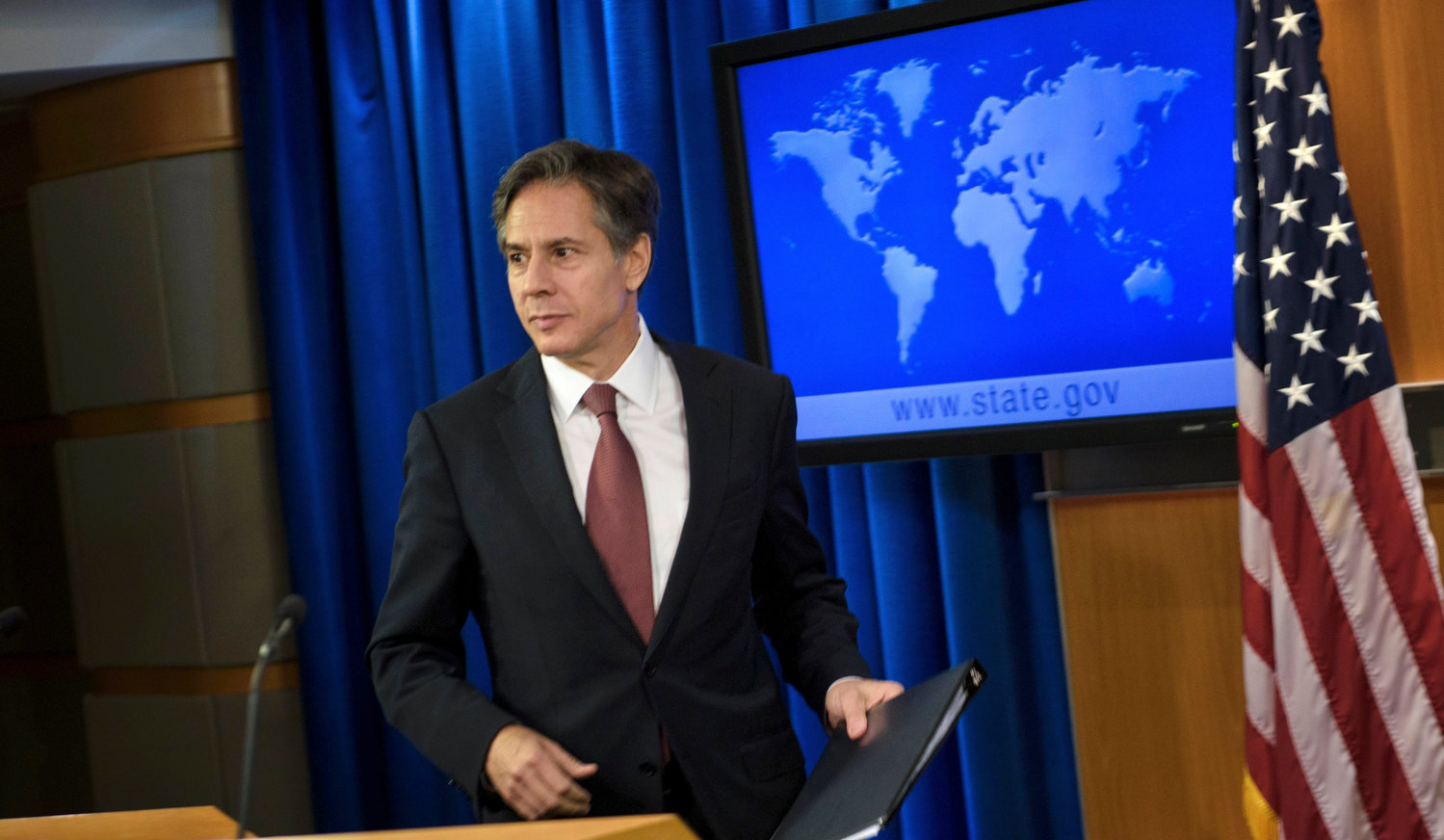 Anthony Blinken, as deputy secretary of state, at a press conference on international religious freedom, at the US Department of State on Aug. 10, 2016.
