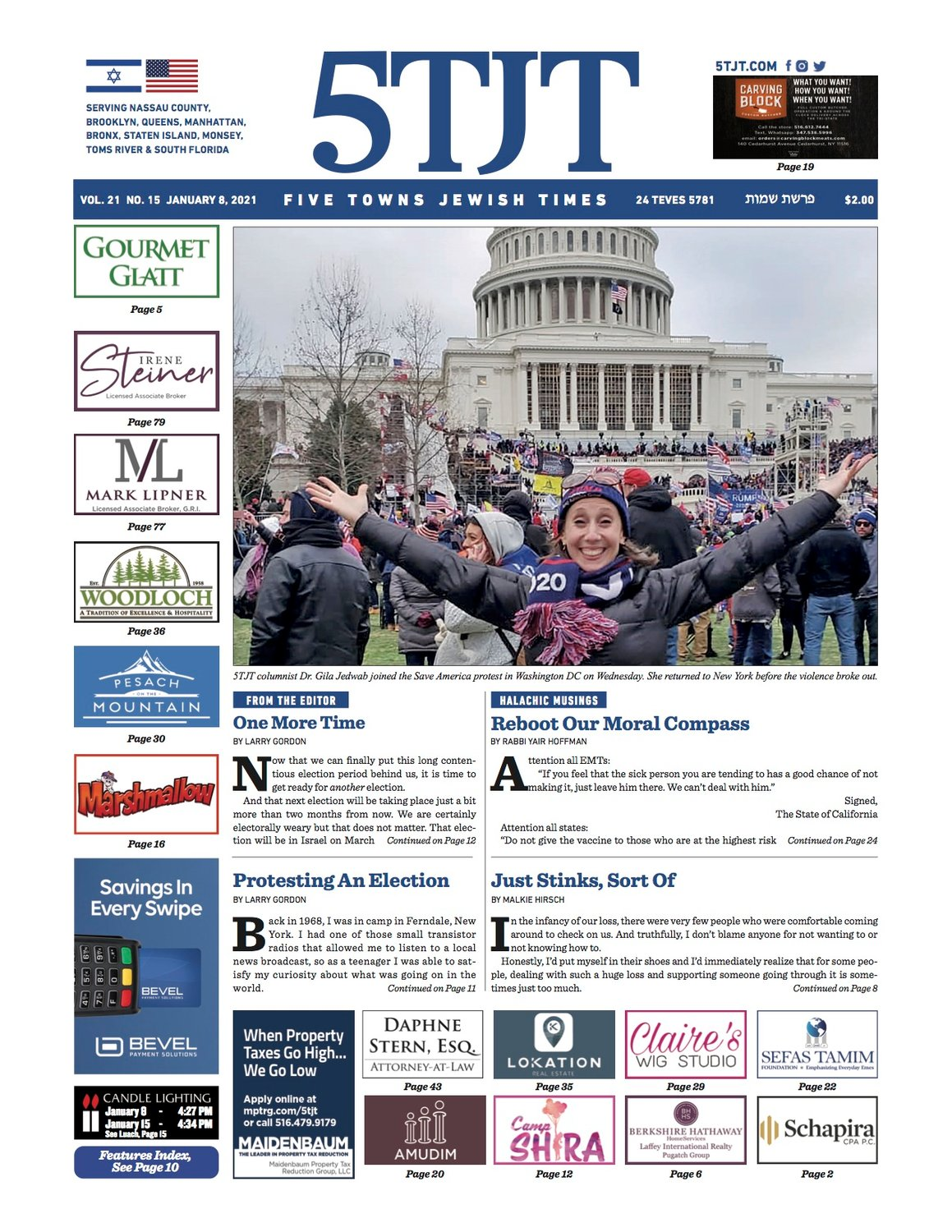 The 5TJT cover celebrating the Jan. 6 day of insurrection, featuring a smiling Dr. Gila Jedwab, outside the Capitol.