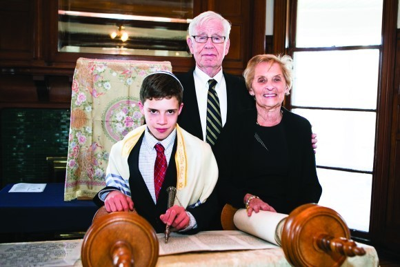 Jacob with his grandparents, Philip and Bette Levine.