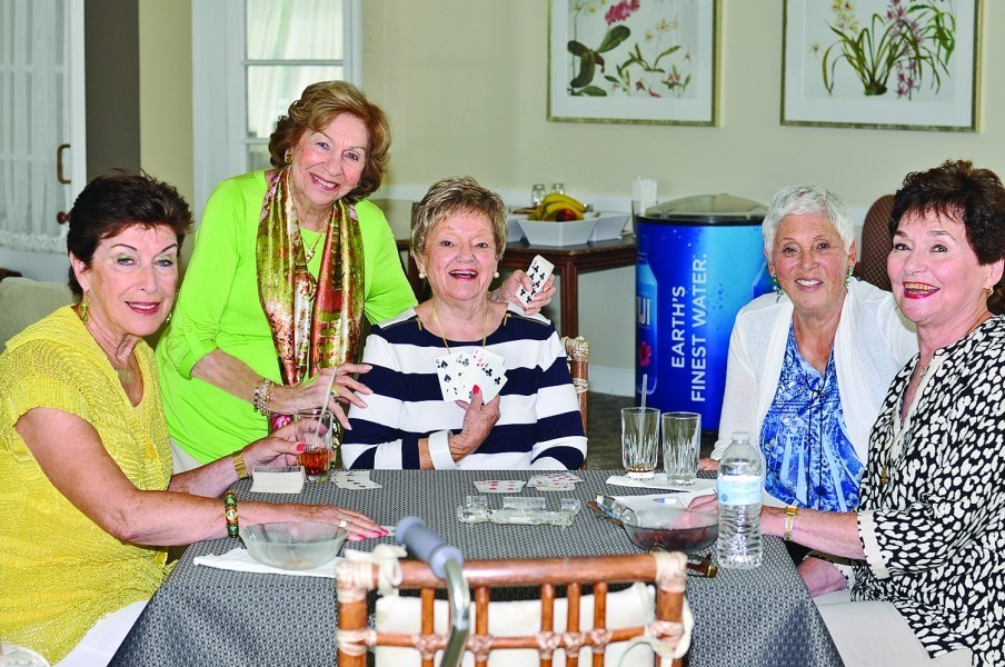 Enjoying an afternoon of canasta are (left to right) Rose Gergel, Rose Levin, Betty Kotlen, Harie Raisman and Sonie Price.