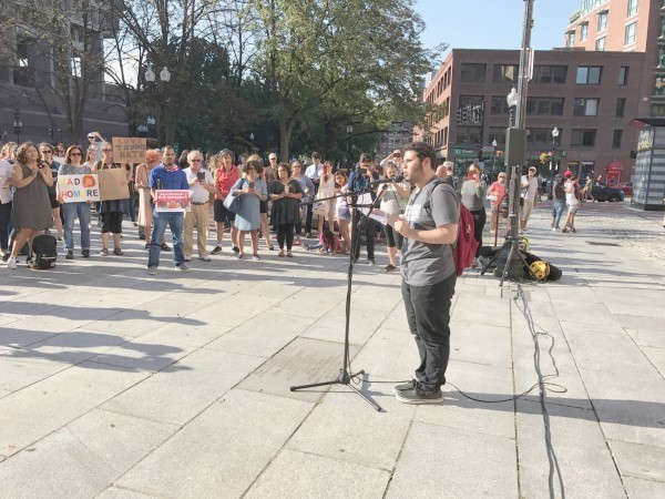 Elias Rosenfeld, a sophomore at Brandeis University, speaking at a rally at Boston's Faneuil Hall hours after President Trump announced he was rescinding DACA protections for some 800,000 young people, Sept. 5.