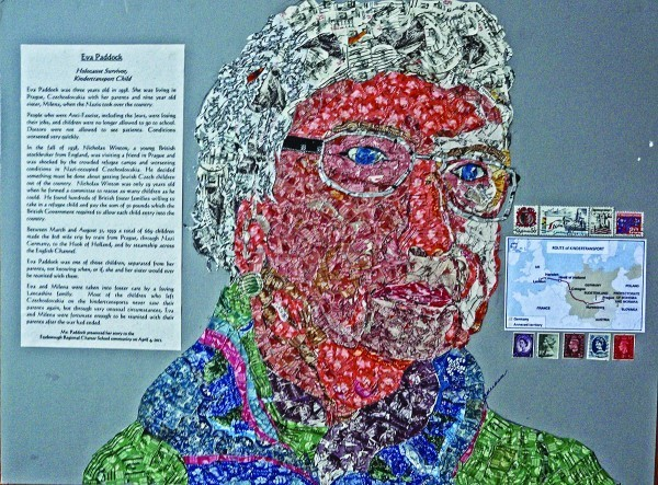 A collage of Eva Paddock, a child Holocaust survivor from Czechoslovakia, is among the 11 collages that have been created as part of the Holocaust Stamp Project.