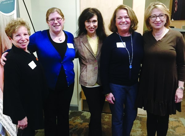 Members of Rosh Hodesh committee with Rabbi Zerin (left to right): Toby London, Rabbi Zerin, Maybeth Lichaa, Cheryl Greenfeld Teverow and Sherry Cohen. Not pictured: Kit Haspel, Marcia Hirsch, Barbara Sheer and Judy Robbins.