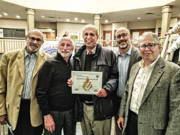 Some of the Temple Torat Yisrael delegation at the awards dinner (left to right):  Steve Shapiro, Harvey Rappoport, David Talan,   Marc Gertsacov and Michael Field.