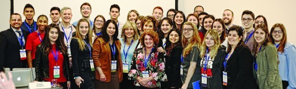 Rep. Mia Ackerman (D-Dist. 45, Cumberland, Lincoln), center, poses with participants of the StandWithUs International Israel in Focus Conference,   which took place in Los Angeles. Ackerman was invited, along with Rep. Phil King from Texas, to lead a panel discussion on legislation that prohibits   the state from doing business with anti-Israel boycotters.