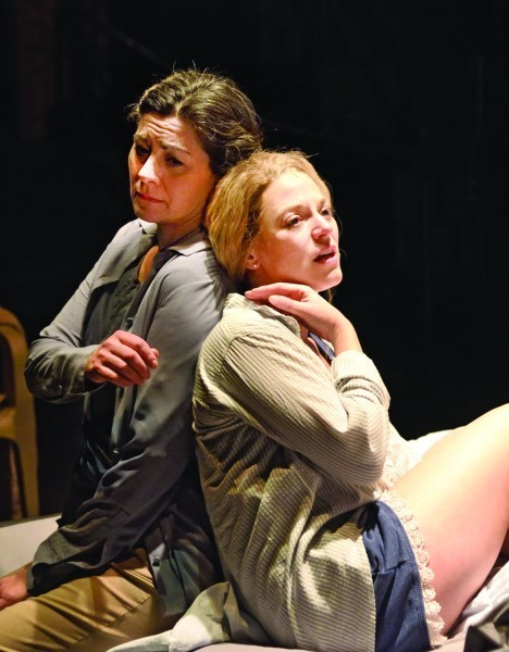 """Angela Brazil as Emilia comforts Rebecca Gibel   as Desdemona during the """"Willow song"""""""