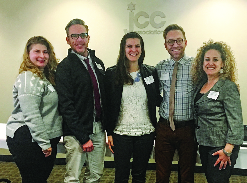 Attending the recent conference (left to right): Emily Saltzman, Keshet LGBTQ inclusion specialist; Brian Sullivan, Alliance chief brand officer; Stephanie Hague, Alliance community relations director; Daniel Bahner, Keshet national director of education and training and Wendy Joering, Alliance director of membership and community engagement.