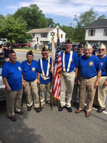 The Jewish War Veterans of the USA, Department of Rhode Island, took part in the 233rd Bristol Fourth of July Parade.  From left to right: Michael Smith, Mike Schlesinger, Steven Musen, Steve Bloch, Steve Shapiro, Commander Sanford Gorodetsky and Ira Fleisher.