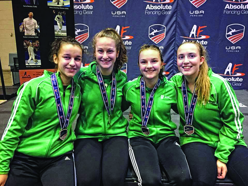 Women's foil team (left  to right): Alexandra McDonald, Julia Shalansky, Anika Breker, Morgan Partridge