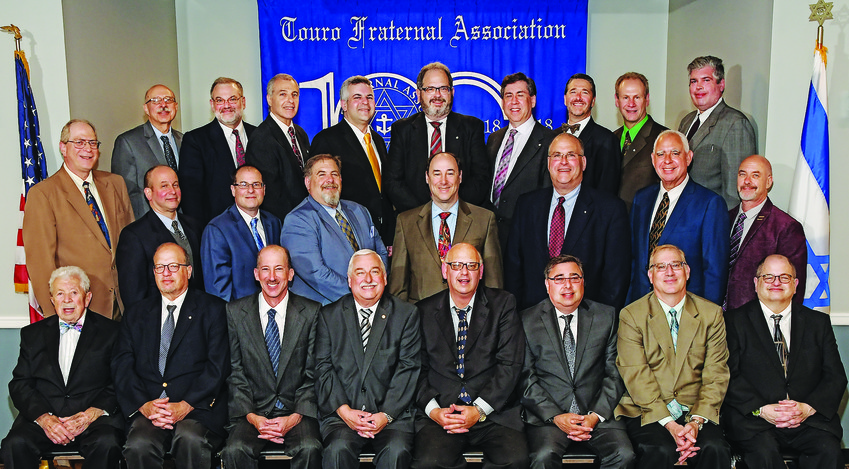 The board members and officers of Touro Fraternal Association for 2018-19 are: front row, from left: Nate Lury, Steven White, Peter Silverman, Michael Smith, Stuart Solup, Richard Levenson, Jeffrey Stoloff, Barry Schiff.  Middle row: Bruce Wasser, David Altman, Barry Ackerman, Alan Lury, Jed Brandes, Robert Miller, Andrew Lamchick, Jeffrey Harpel. Back row: Larry Berman, Ried Redlich, Steven Waldman, Mitchell Cohen, Jeffrey Davis, Bruce Weisman, Michael Levin, Norman Dinerman, Steven Hopfenberg. Absent from the photo: Stevan Labush, Max Guarino, Andrew Gilstein, David Mossberg and David Weisman.