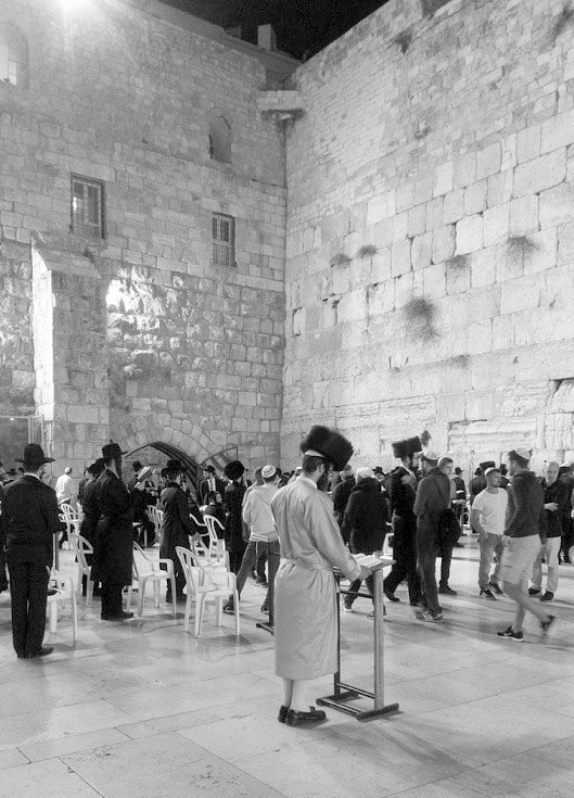 From Gary Leib's photo essay: Many of us celebrated Shabbat at the Western Wall, in Jerusalem. Maybe it was the spring-like temperature and breeze that night. Maybe it was the light. Maybe the hush of 1,000 prayers. Maybe the imam from the mosque on top, whose plaintive chant melded with the prayers below.   It all blended into a special reverent and sad feeling for us that night.