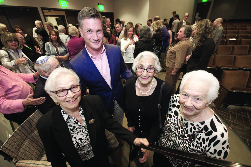"""After a screening of """"After Auschwitz,"""" (left to right) Erika Jacoby, Jon Kean, Eva Beckmann and Renee Firestone."""