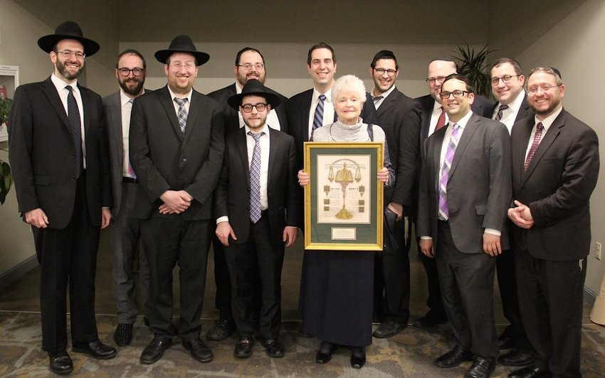 Dean Judith Jamieson with some of the graduates of the joint New England Rabbinical College – Providence College program.