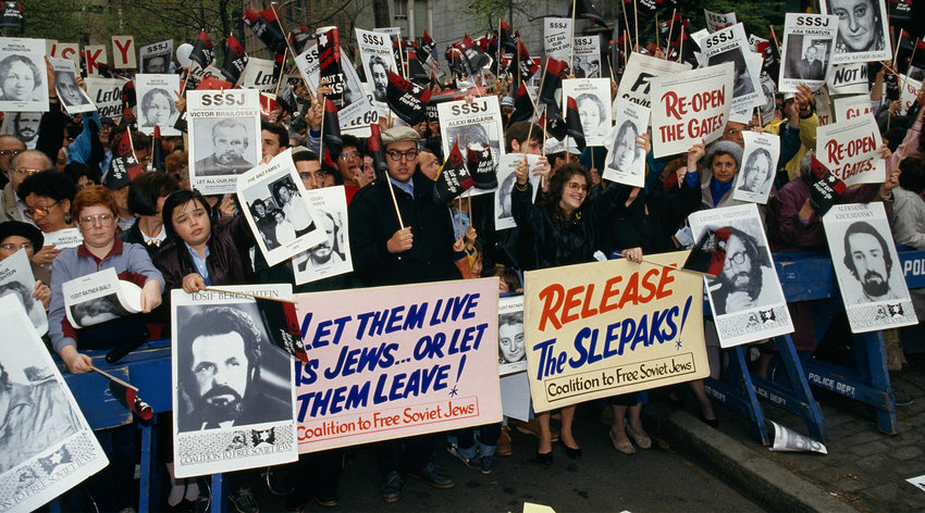 A U.S. demonstration on behalf of the liberation of Soviet Jews (Rick Maiman/Sygma via Getty Images)