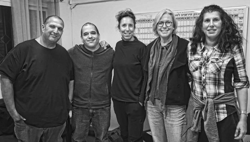 (From left): Meir Dahan, owns a clothing company; Uval Brill, teaches filmmaking at a high school; Orly Sela, teaches dance specializing in patients with Parkinson's Disease, as well as nursing home residents and Jewish and Arab children; Monica Brustein, works in the marketing department of a jewelry factory; Ora Haviv-Magel, works with people who have handicaps or disabilities.