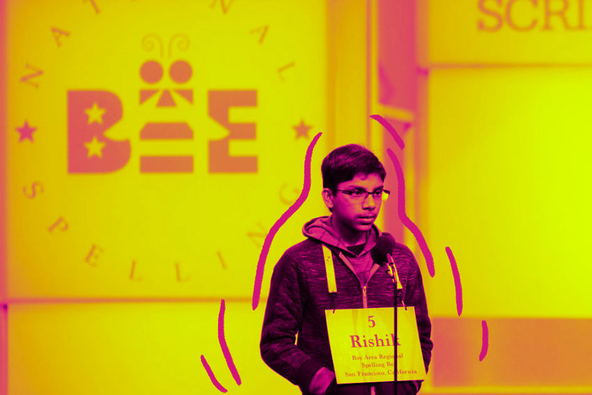 "Rishik Gandshari spelled ""Yiddishkeit"" and ""keriah"" on the way to the co-championship of the Scripps National Spelling Bee."