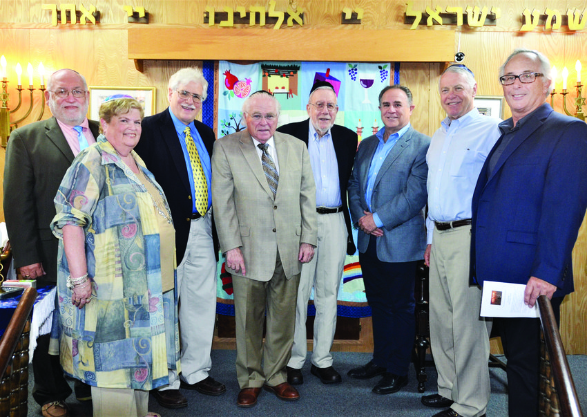 Presidents, left to right: Rabbi Ethan Adler, Meri Kaufman (2012-2013), Walter Horowitz (2007-2010), Honorable Edward Newman (1984-1986), Stanley Barnett (1986-1989), Harris Chorney (2014 - present), Robert Babat (2010-2012), and Alvin Gabrilowitz (1989 - 1993; 2013 - 2014). Not pictured: Joe Block (1980-1982), deceased; Bruce Jacober (1982-1984), deceased; Michael Hoffer (1993-1998); Sheldon Slomowitz (1998-2001); Sara Nelson (2001 - 2002; 2004 - 2007); Steven Poulten (2002-2004)