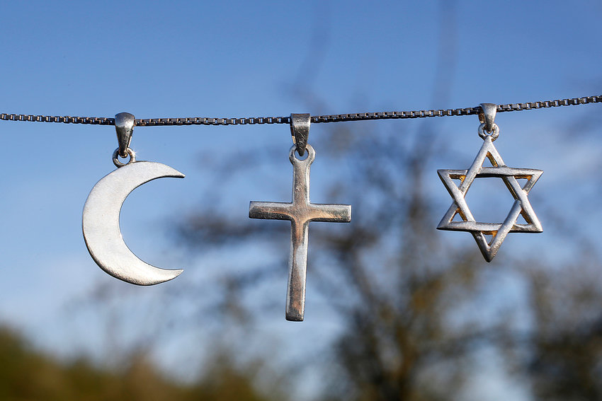 Symbols of islam, christianity and judaism.